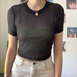 Black Cropped UO Mesh Shirt